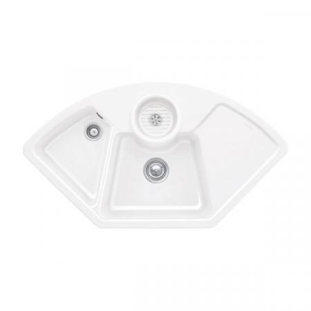 Villeroy&Boch Solo corner Zlewozmywak ceramiczny dwukomorowy CeramicPlus 107,5x60 cm narożny biały Weiss Alpin 670801R1