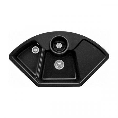 Villeroy&Boch Solo corner Zlewozmywak ceramiczny dwukomorowy CeramicPlus 107,5x60 cm narożny czarny Chromit 670801J0