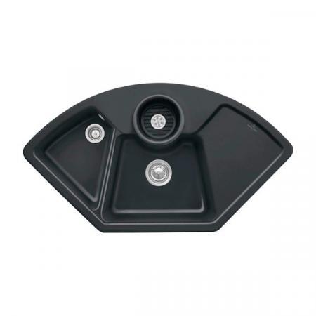 Villeroy&Boch Solo corner Zlewozmywak ceramiczny dwukomorowy CeramicPlus 107,5x60 cm narożny czarny Ebony 670801S5