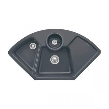 Villeroy&Boch Solo corner Zlewozmywak ceramiczny dwukomorowy CeramicPlus 107,5x60 cm narożny grafitowy Graphite 670801i4