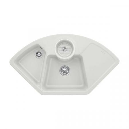 Villeroy&Boch Solo corner Zlewozmywak ceramiczny dwukomorowy CeramicPlus 107,5x60 cm narożny jasnoszary Steam 670801SM