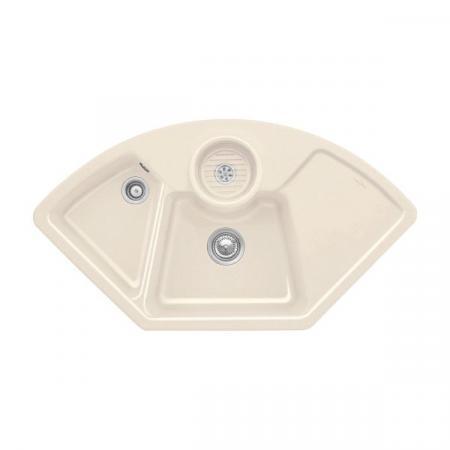 Villeroy&Boch Solo corner Zlewozmywak ceramiczny dwukomorowy CeramicPlus 107,5x60 cm narożny kremowy Crema 670801KR