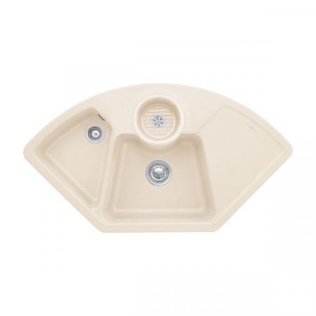 Villeroy&Boch Solo corner Zlewozmywak ceramiczny dwukomorowy CeramicPlus 107,5x60 cm narożny kremowy Ivory 670801FU