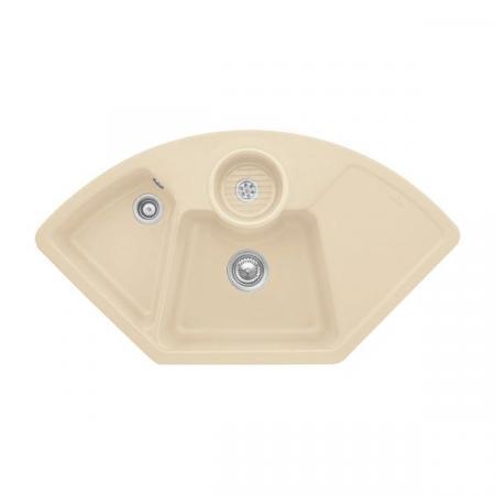 Villeroy&Boch Solo corner Zlewozmywak ceramiczny dwukomorowy CeramicPlus 107,5x60 cm narożny piaskowy Sand 670801i5