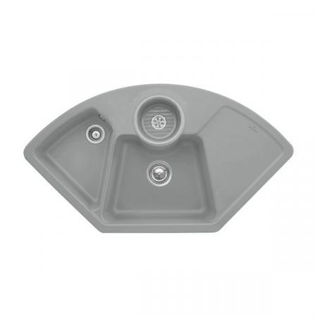 Villeroy&Boch Solo corner Zlewozmywak ceramiczny dwukomorowy CeramicPlus 107,5x60 cm narożny szary Stone 670801SL