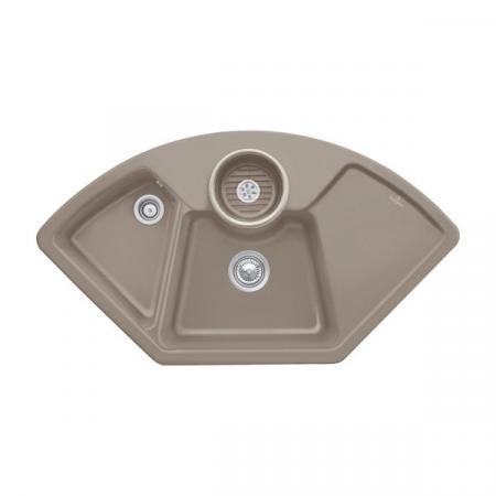 Villeroy&Boch Solo corner Zlewozmywak ceramiczny dwukomorowy CeramicPlus 107,5x60 cm z korkiem pop-up, narożny jasnobrązowy drewniany Timber 670802TR