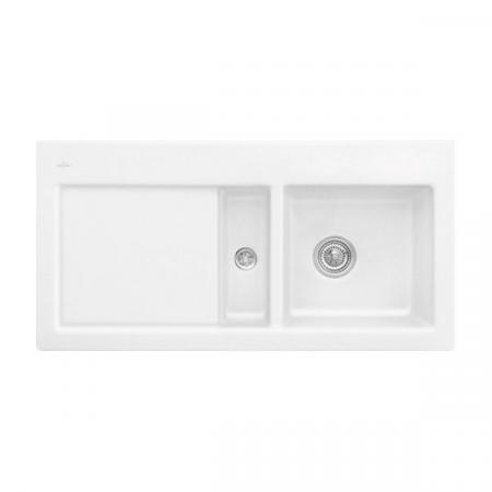 Villeroy&Boch Subway 60 Flat Zlewozmywak ceramiczny 1,5-komorowy lewy 96,5x47,5 cm z korkiem pop-up, na równi z blatem, z ociekaczem, biały Stone White 67702FRW