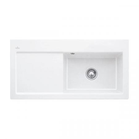 Villeroy&Boch Subway 60 XL Flat Zlewozmywak ceramiczny 1-komorowy prawy CeramicPlus 96,5x47,5 cm na równi z blatem, z ociekaczem, biały Stone White 67191FRW