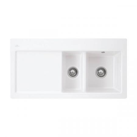 Villeroy&Boch Subway 60 XR Flat Zlewozmywak ceramiczny 1,5-komorowy prawy CeramicPlus 96,5x47,5 cm na równi z blatem, z ociekaczem, biały Stone White 67211FRW