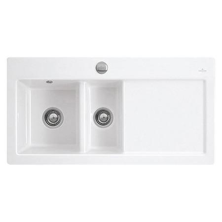 Villeroy&Boch Subway 60 XR Flat Zlewozmywak ceramiczny półtorakomorowy CeramicPlus 96,5x47,5 cm lewy biały Weiss Alpin 67201FR1