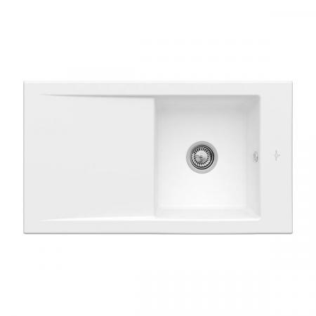 Villeroy&Boch Timeline 50 Flat Zlewozmywak ceramiczny 1-komorowy CeramicPlus 86,5x47,5 cm na równi z blatem, z ociekaczem, biały Stone White 33071FRW