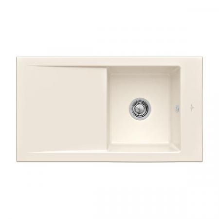 Villeroy&Boch Timeline 50 Flat Zlewozmywak ceramiczny 1-komorowy CeramicPlus 86,5x47,5 cm na równi z blatem, z ociekaczem, kremowy Crema 33071FKR