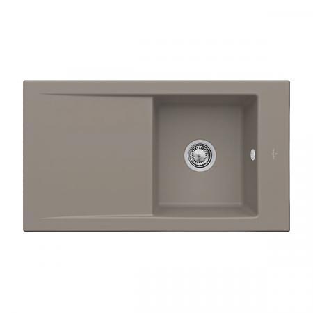 Villeroy&Boch Timeline 50 Flat Zlewozmywak ceramiczny 1-komorowy CeramicPlus 86,5x47,5 cm z korkiem pop-up, na równi z blatem, z ociekaczem, jasnobrązowy, drewniany Timber 33072FTR