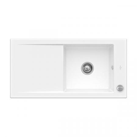Villeroy&Boch Timeline 60 Flat Zlewozmywak ceramiczny 1-komorowy CeramicPlus 96,5x47,5 cm na równi z blatem, z ociekaczem, biały Snow White 67901FKG