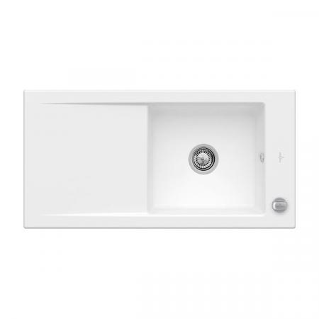 Villeroy&Boch Timeline 60 Flat Zlewozmywak ceramiczny 1-komorowy CeramicPlus 96,5x47,5 cm na równi z blatem, z ociekaczem, biały Stone White 67901FRW