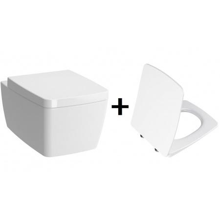 VitrA Metropole Zestaw Toaleta WC podwieszana 56x36 cm bez kołnierza z deską sedesową wolnoopadającą Slim, biały 7672B003-0075+102-003-009