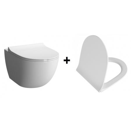 Vitra Sento Rim-Ex Zestaw Toaleta WC podwieszana 54x36,5 cm bez kołnierza z deską sedesową wolnoopadająca, biała 7748B003-0075+100-003-009