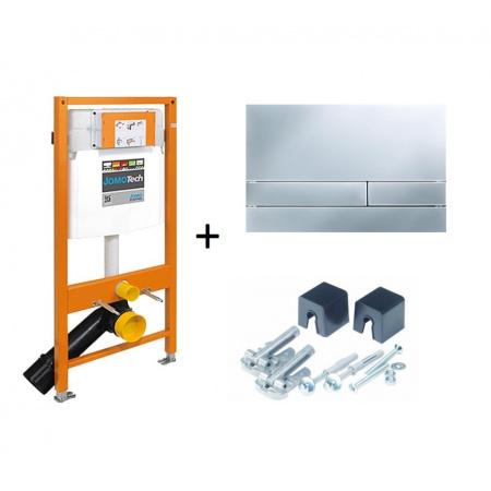 Werit / Jomo JomoTech Stelaż do toalety WC podwieszanej H112 z przyciskiem Exclusive 2.0 i wspornikami, chrom matowy 174-91101100-00
