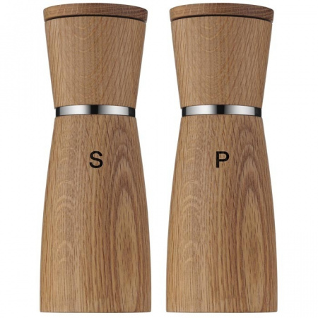 WMF Ceramill Zestaw młynków drewnianych 6x6x17,9 cm, brązowy/srebrny 0652334500