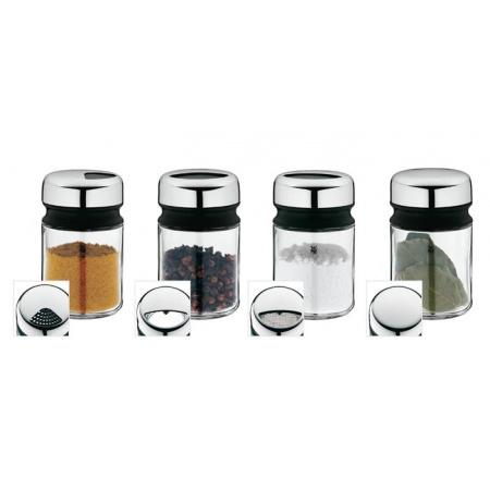 WMF Depot Zestaw pojemniczków do przypraw 5,5x5,5x9,5 cm, srebrny/przezroczysty 0661586040