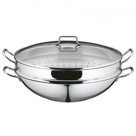 WMF Macao Wok z wkładem do gotowania na parze 36 cm, srebrny 0792566040