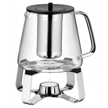 WMF TeaTime Dzbanek do herbaty z podgrzewaczem 21,3x21,3x20,6 cm, srebrny/przezroczysty 0636306040