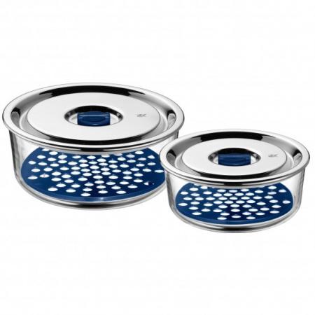 WMF Top Serve Zestaw pojemników hermetycznych 0,7 l i 1,25 l, srebrny/przezroczysty 0654916020