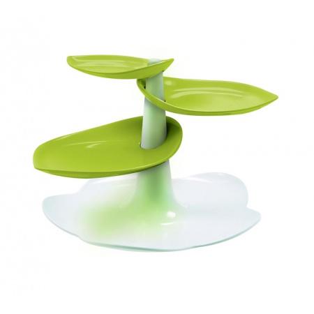 Zak Designs Patera na ciasta 19x19x14 cm, biała/zielona 1283-N920