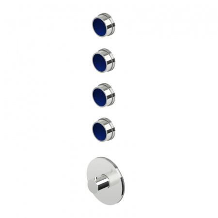 """Zucchetti Savoir Termostatyczna bateria prysznicowa podtynkowa 3/4"""", błyszczący nikiel/niebieski ZSV097.C8L"""