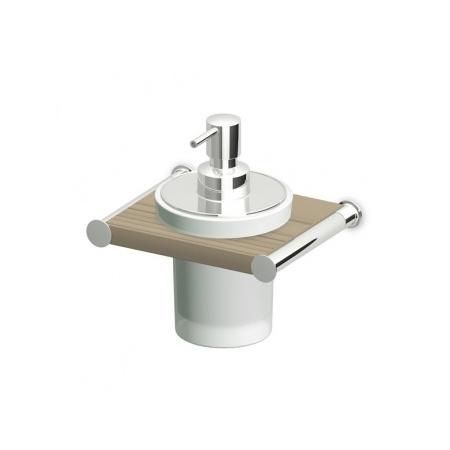 Zucchetti Isybagno Dozownik do mydła ścienny, stal szczotkowana/jasne drewno ZAC315.C3E1
