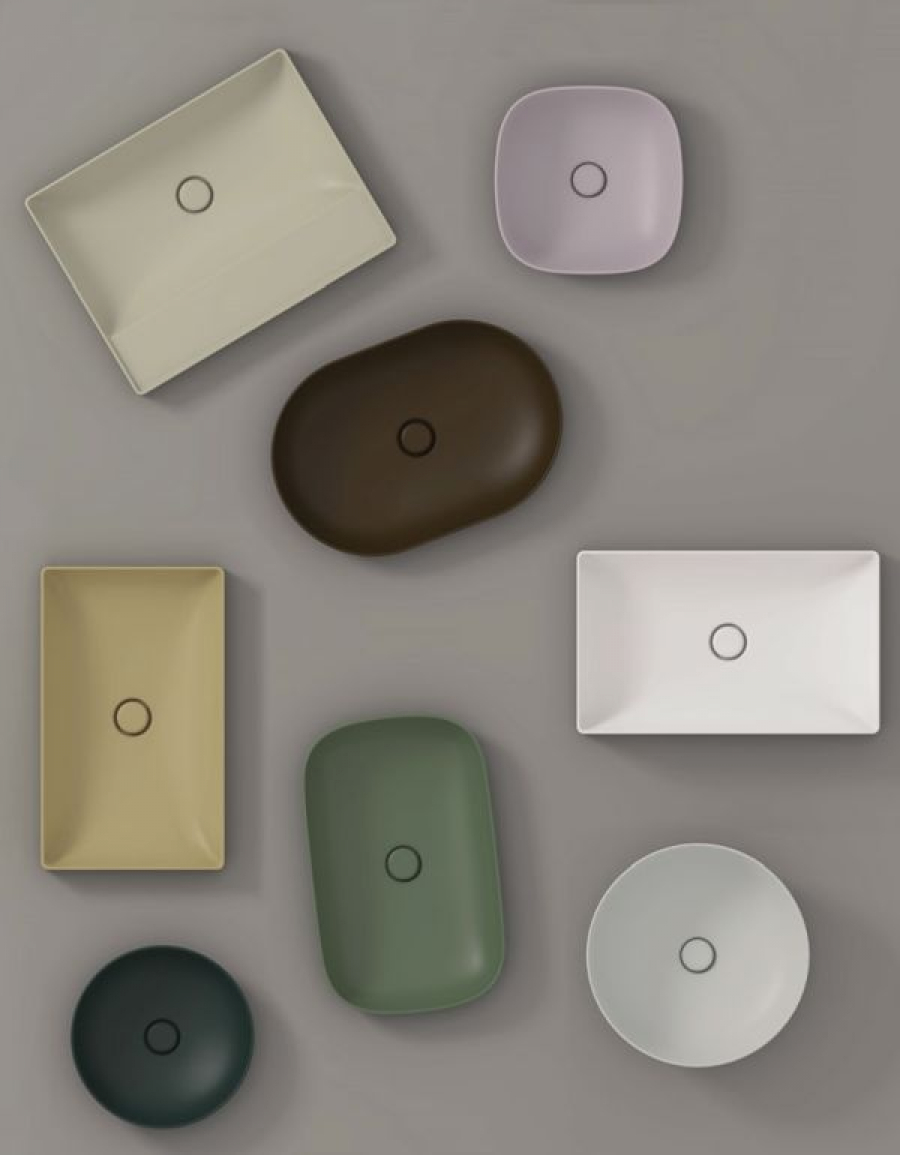 Globo T-Edge – kolorowe umywalki nablatowe, umywalki wiszące oraz wpuszczane w blat